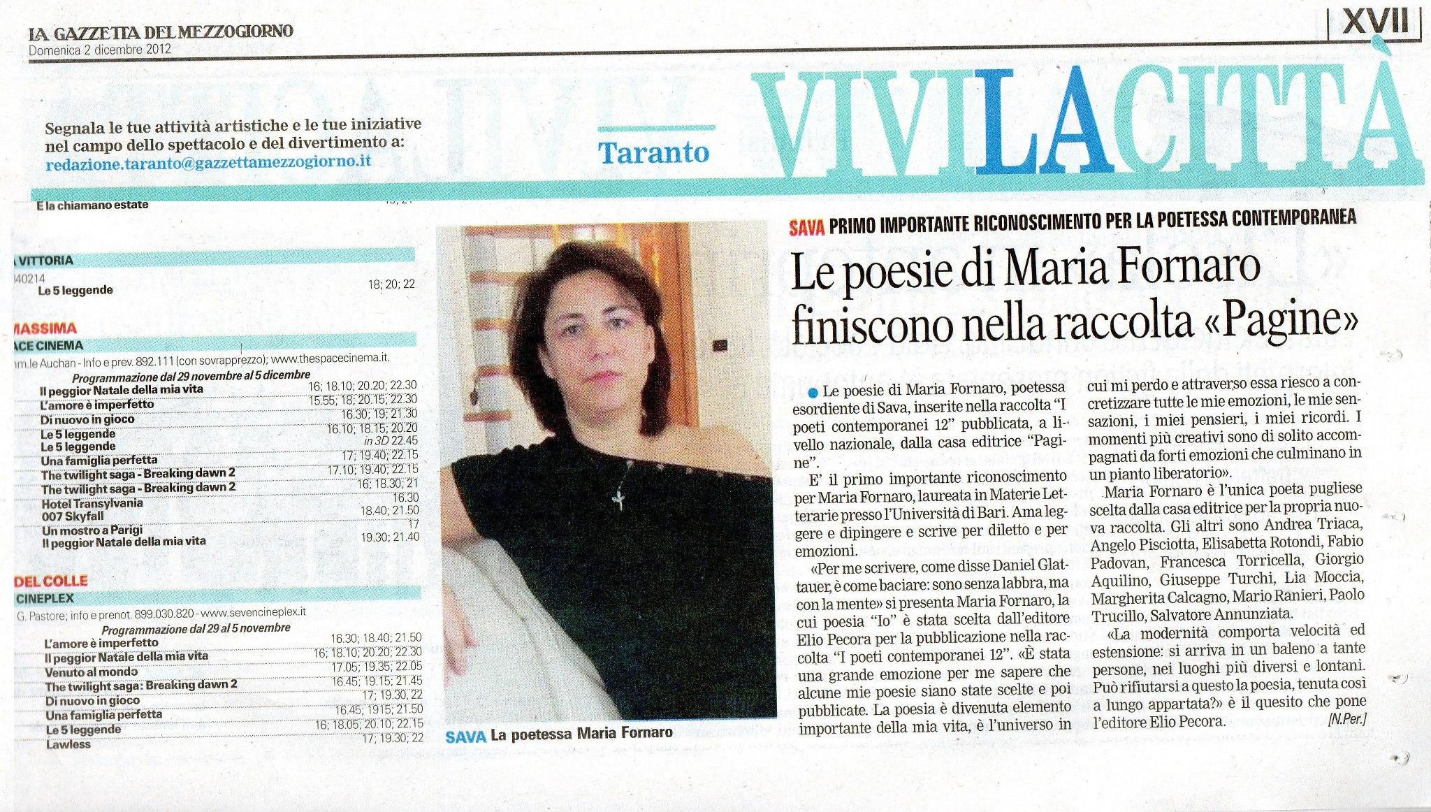 articolo su gazzetta del mezzogiorno del 2 dic 2012